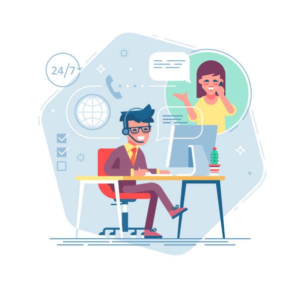 illustrations, cliparts, dessins animés et icônes de helpline mâle heureux opérateur avec casque consulting un client. en ligne global tech support 24/7. opérateur et client. concept de soutien technique. illustration vectorielle au design plat. - centre d'appels