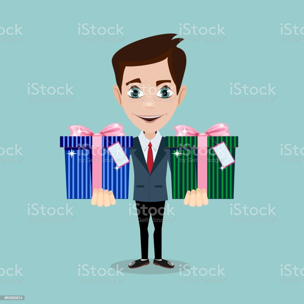 Happy man and gift box with bow vector art illustration