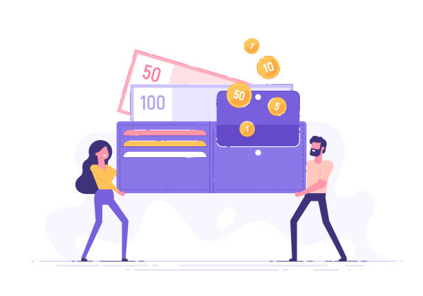 happy man and woman are holding a huge wallet with money and credit cards. family budget and finance concept. home savings and investments. modern vector illustration. - credit card stock illustrations