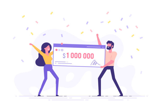 Happy man and woman holding a bank check for a million dollars. Lottery gain or grant concept. Vector illustration in flat design. Happy man and woman holding a bank check for a million dollars. Lottery gain or grant concept. Vector illustration in flat design. millionnaire stock illustrations