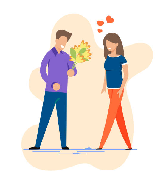 Happy Man and Woman on First Romantic Date Cutout Happy Man and Woman on First Romantic Date Cutout Cartoon. Smiling Guy with Flowers Bouquet Meeting Pretty Girl. Romance and Positive Feelings. Relationships Creation. Vector Flat Illustration flirting stock illustrations