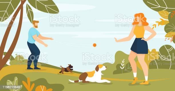 Happy man and woman pet owner walking dog in park vector id1198211645?b=1&k=6&m=1198211645&s=612x612&h=xww8zx8qjqbpgqcgprgo3jwloibaesr0k papkkm ne=
