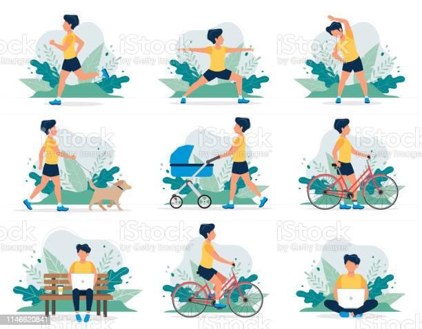 Happy man doing different outdoor activities running dog walking yoga vector id1146620841?b=1&k=6&m=1146620841&s=612x612&h=eimoodls4aiphdya74hmxa6zxkhcnvu 01ckquncwvu=