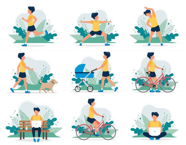 別の野外活動をして幸せな男: ランニング、犬の散歩、ヨガ、運動、スポーツ、サイクリング、ベビーキャリッジで歩く。フラットスタイルでベクトルイラスト、健康的なライフスタイルの� - ストレッチのイラスト点のイラスト素材/クリップアート素材/マンガ素材/アイコン素材