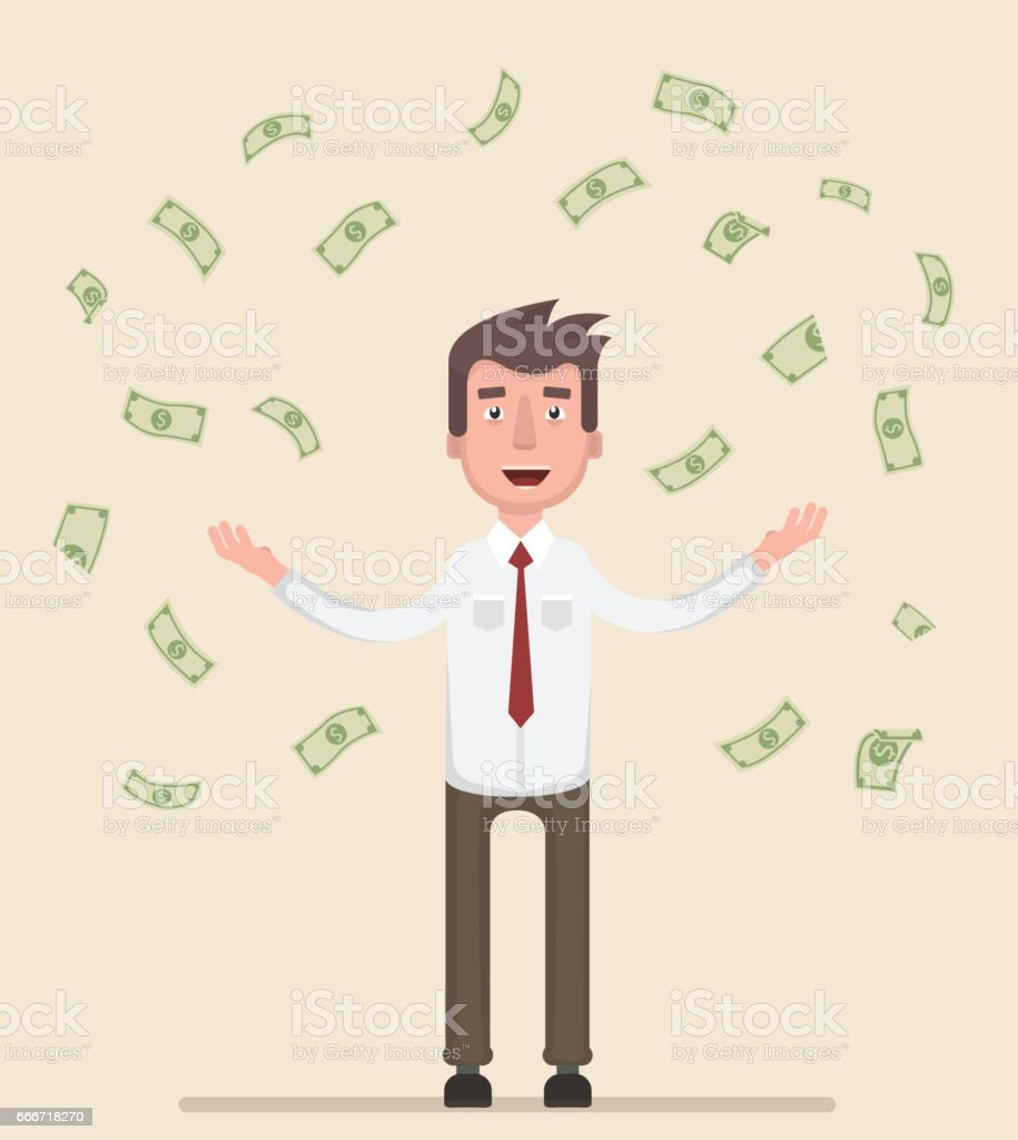Happy man enjoying the rain of money. vector art illustration