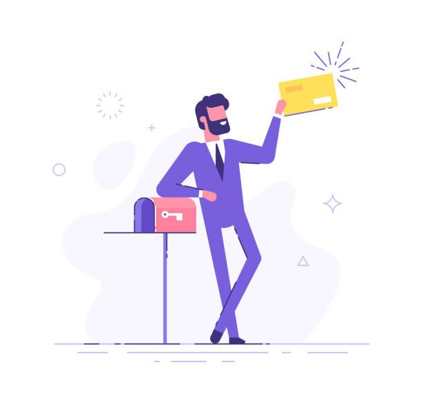 stockillustraties, clipart, cartoons en iconen met gelukkig man kreeg een belangrijke brief. knappe zakenman of manager staat in de buurt mailbox en het bezit van een envelop. moderne vector illustratie. - versturen