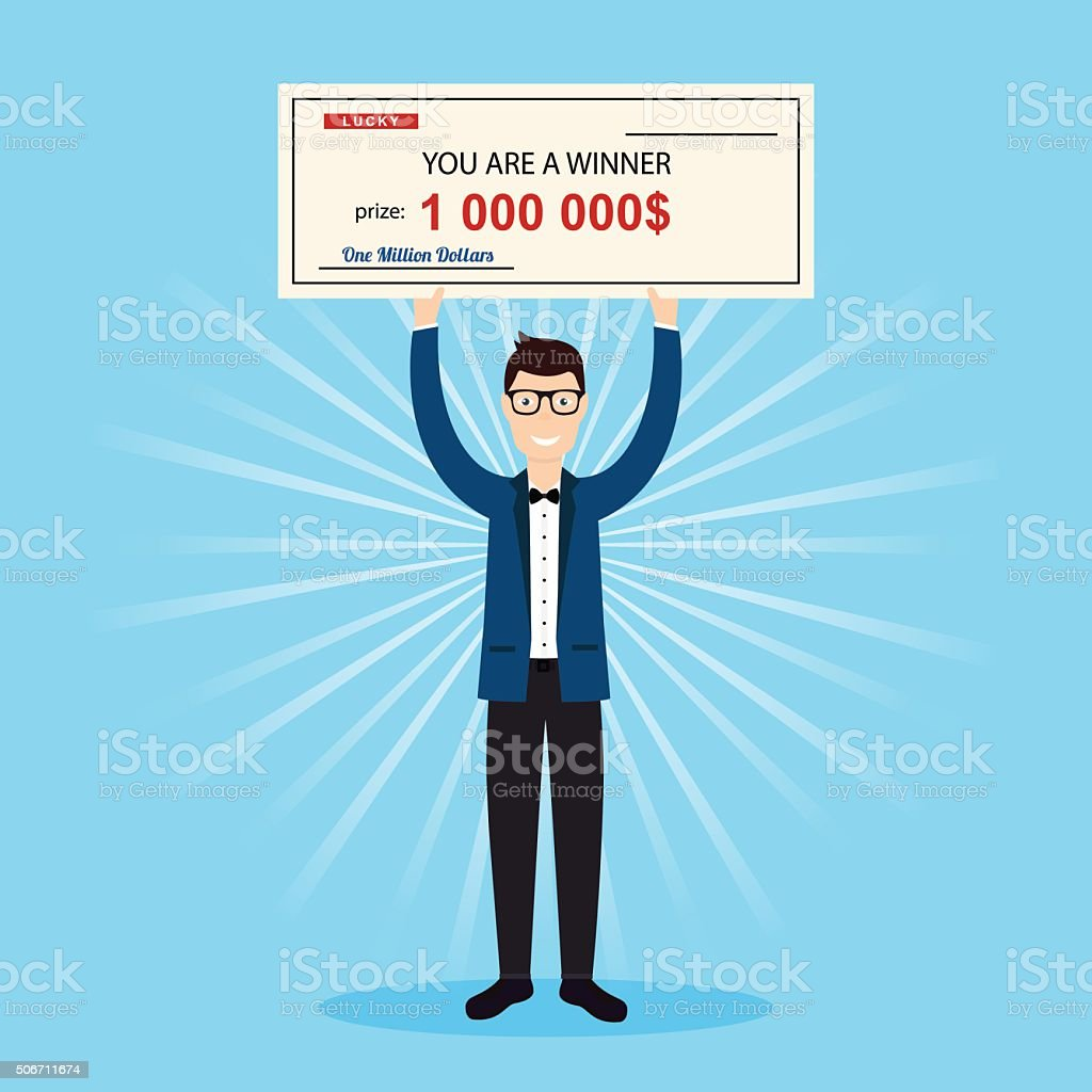 Happy Man Holding Large Check Of One Million Dollar Stock