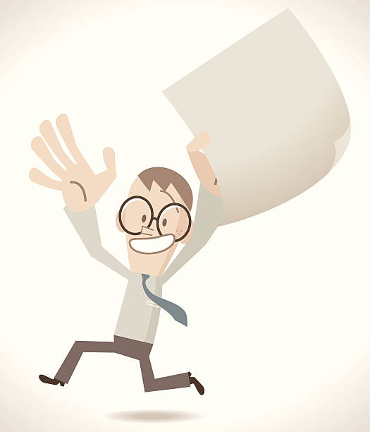 Happy man holding the important contract Vector illustration – Happy man holding the important contract.  good news stock illustrations