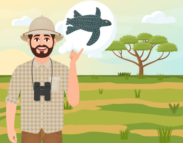 stockillustraties, clipart, cartoons en iconen met gelukkige man in cork hat, animal hunter denkt van leder zeeschildpad, safari landschap, paraplu acacia, afrikaans platteland, vector illustratie - leatherback