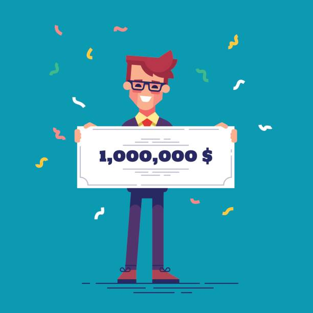 Happy man in formal suit is holding a bank check for a million dollars. Lottery gain concept. Vector. Happy man in formal suit is holding a bank check for a million dollars. Lottery gain concept. Vector illustration in flat design. millionnaire stock illustrations