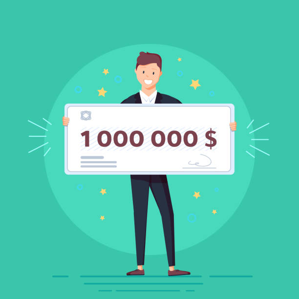 Happy man in formal suit is holding a bank check for a million dollars. Happy man in formal suit is holding a bank check for a million dollars. Lottery gain concept. Vector illustration in flat design. millionnaire stock illustrations