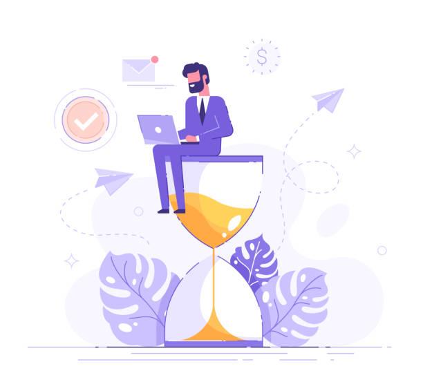 ilustrações, clipart, desenhos animados e ícones de homem feliz no terno formal que senta-se em um hourglass e que trabalha em seus ícones e infográficos do processo do negócio do portátil no fundo. conceito de multitarefa, produtividade e gerenciamento de tempo. ilustração lisa do vetor - só um homem jovem
