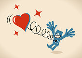 Blue Little Guy Characters Full Length Vector art illustration.Copy Space. Happy man jumping and a big heart springing out of his body.