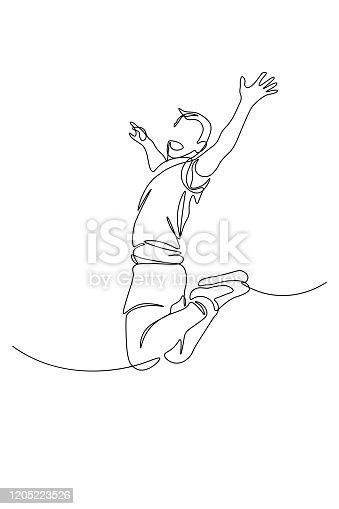 istock Happy man jumping 1205223526