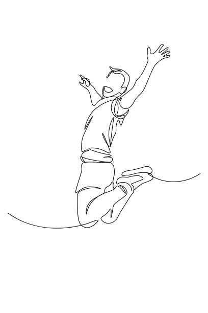 Happy man jumping Happy man jumping for joy in continuous line art drawing style. Victory, success and freedom concept. Black linear sketch isolated on white background. Vector illustration jumping stock illustrations
