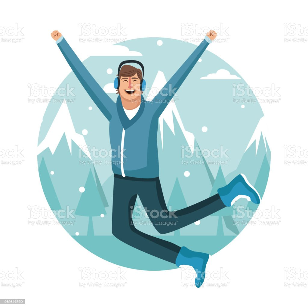 happy man on winter stock vector art more images of adult rh istockphoto com winter vector background winter vector alphabet with snow