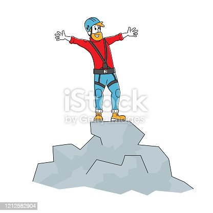 Happy Man Rock Climber Character in Special Equipment and Helmet Stand on Top of Mountain. Hiking Active Lifestyle, Trekking in Mountains or Hills, Backpacking Activity. Linear Vector Illustration