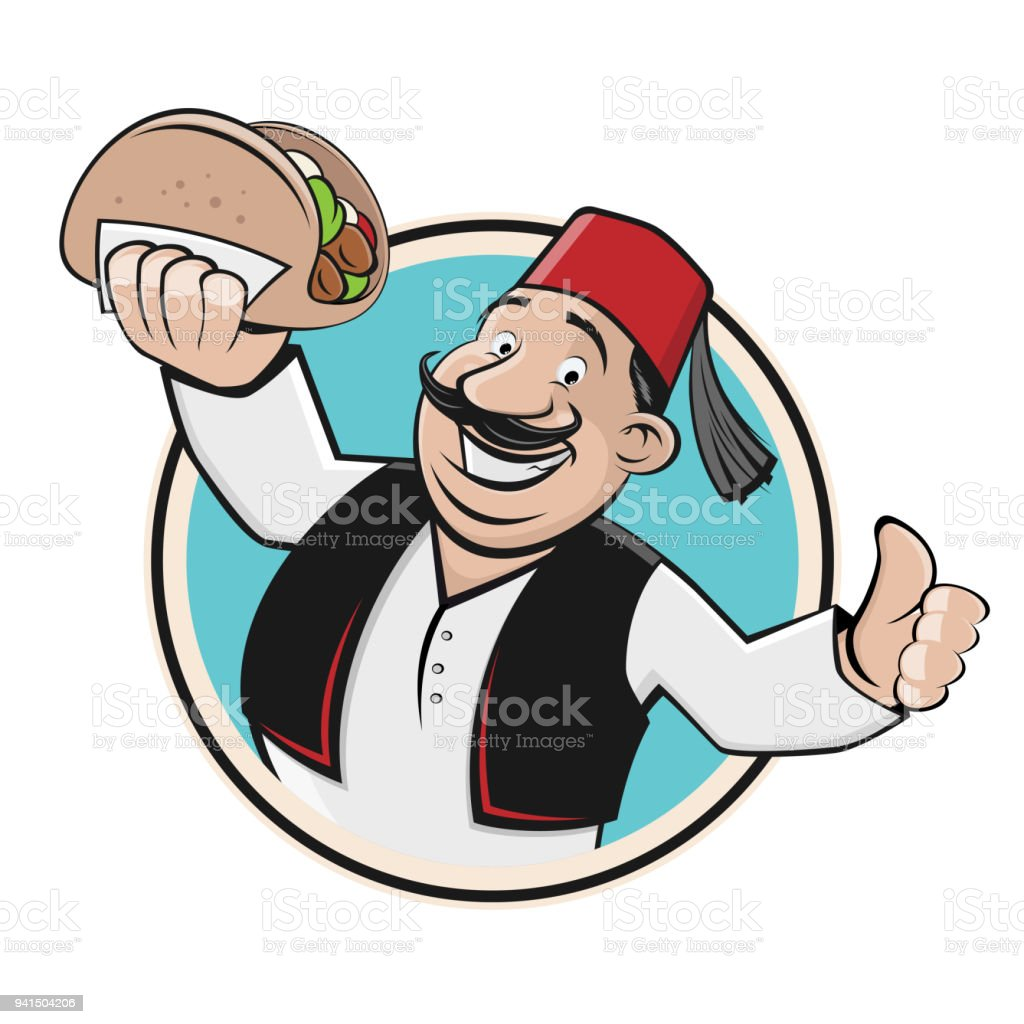 happy man serving doner vector art illustration