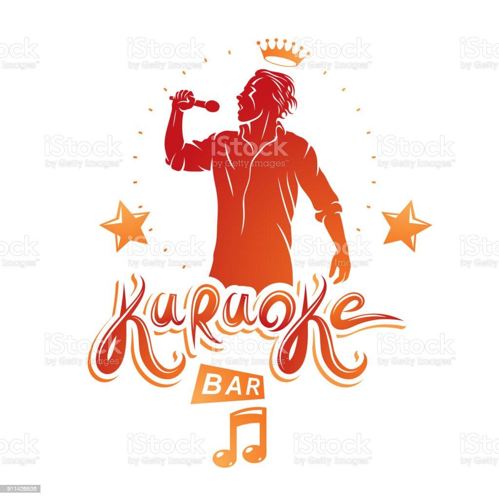Happy man sings karaoke, karaoke bar promotion flyer template design. Vector illustration. vector art illustration