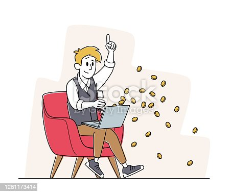 istock Happy Man Sitting with Laptop and Wine Glass in Armchair Celebrate Win in Online Casino with Money Falling from Screen 1281173414