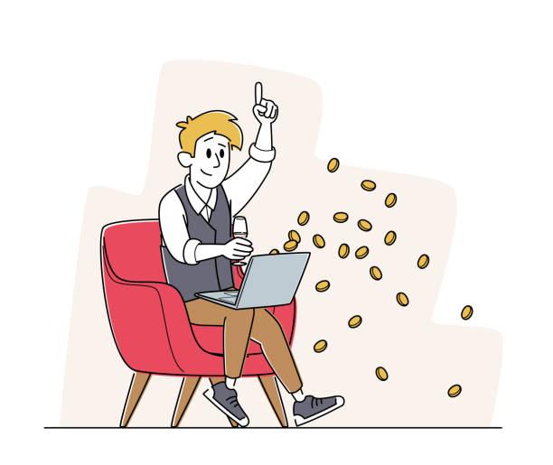 bildbanksillustrationer, clip art samt tecknat material och ikoner med happy man sitter med laptop och vinglas i fåtölj fira win i online casino med pengar falling från screen - endast en man