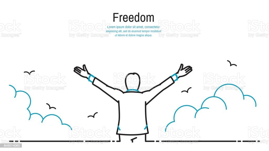 Happy man stretching hands in the sky vector art illustration