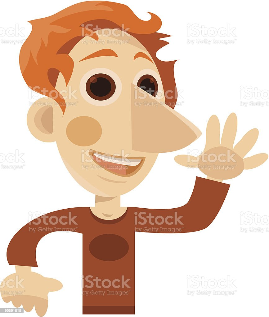 Happy Man Waving(high five-ing) royalty-free happy man waving stock vector art & more images of adult