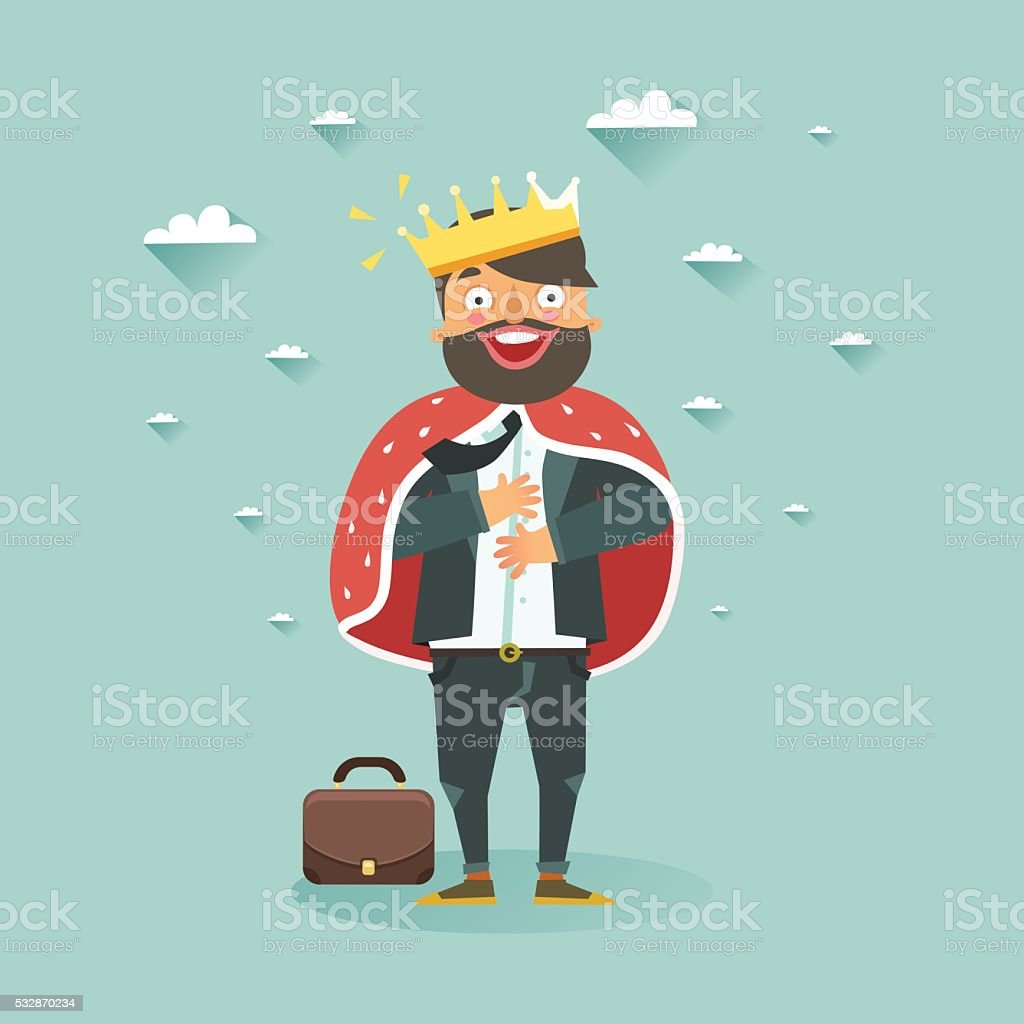 Happy man wearing a crown vector art illustration
