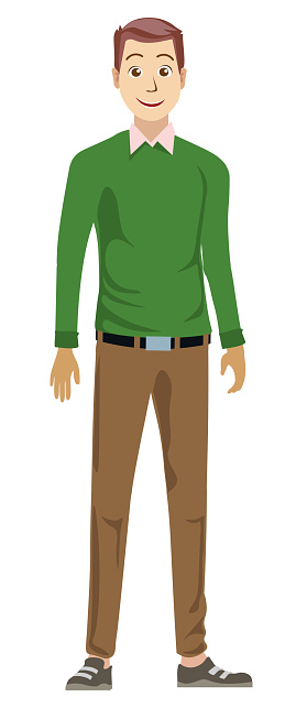 Happy man with a smile in brown pants and green sweater is standing. Cartoon style people avatar flat vector character design illustration isolated on white background.