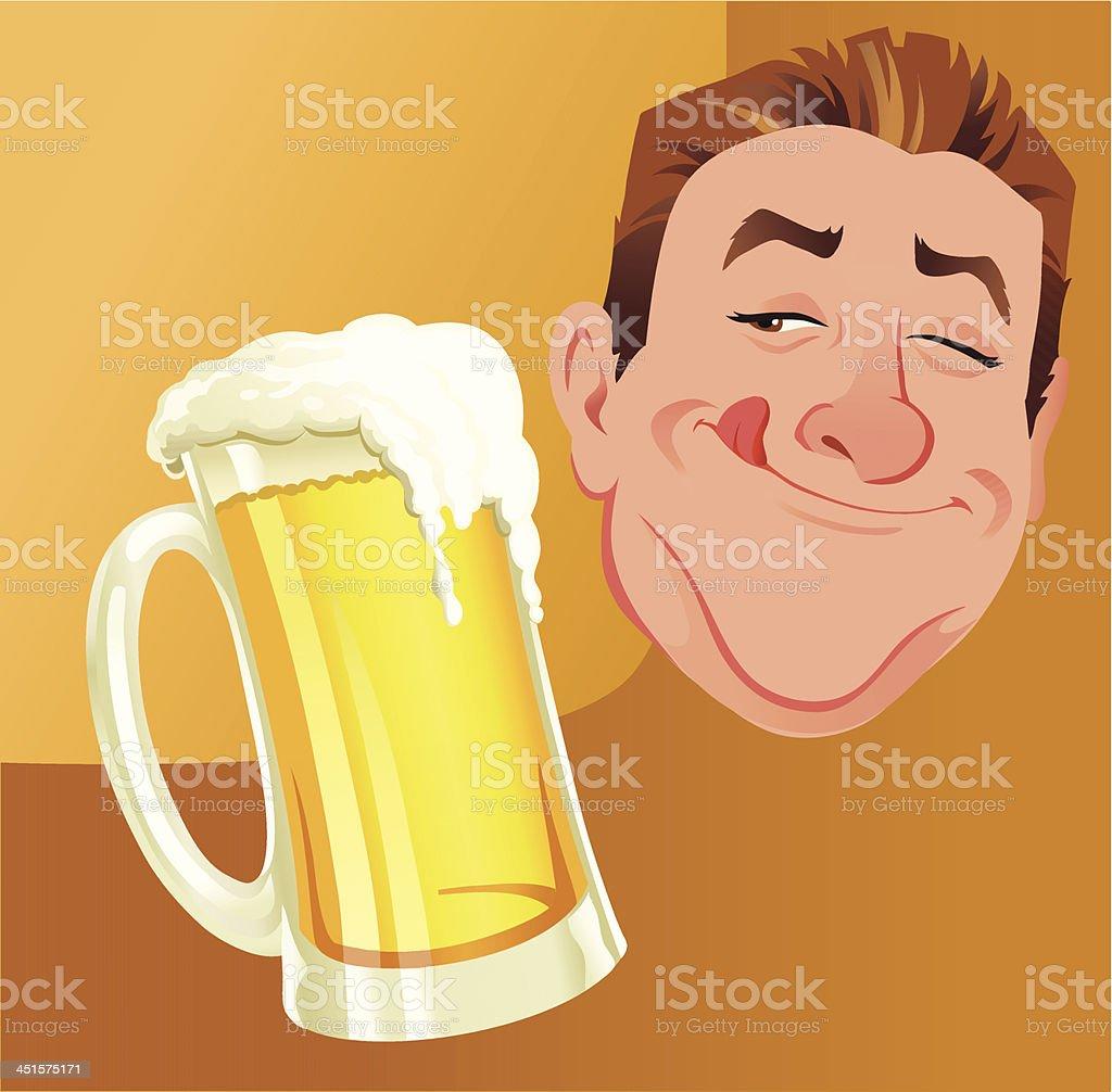 Happy Man With Jug of Beer vector art illustration