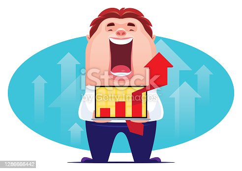 vector illustration of happy man with laptop and rising arrow symbol