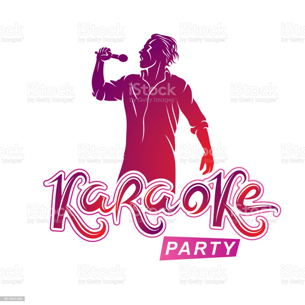 Happy man with microphone sings karaoke, famous superstar concert invitation flyer. Karaoke party writing. vector art illustration