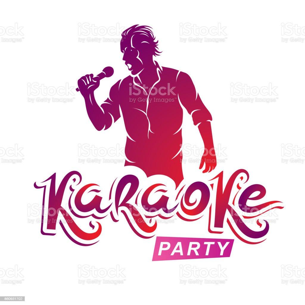 Glücklicher Mann Mit Mikrofon Singt Karaoke Livemusik Konzert Vektor ...