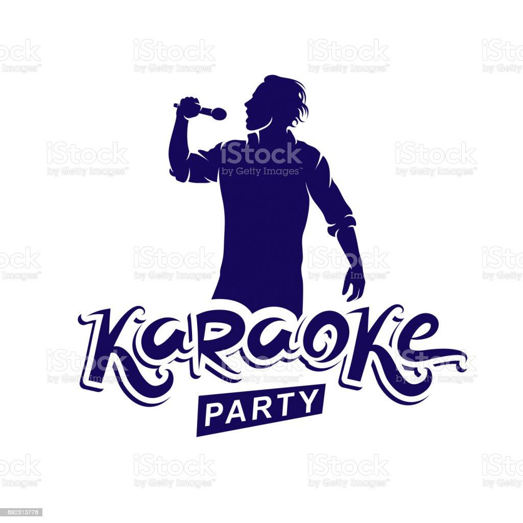 Happy man with microphone sings karaoke, live music concert vector invitation leaflet. Karaoke party writing. vector art illustration