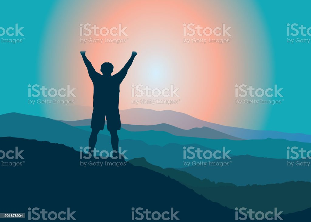 Happy man with raised hans  on the top of mountain. vector art illustration