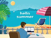 Summer, Working, Relaxation, Beach, Men