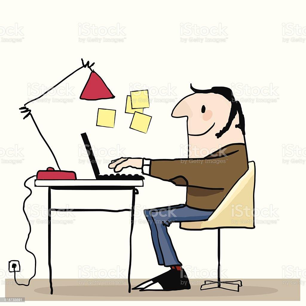 Happy man working on laptop. vector art illustration