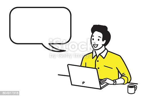 Happy and smiling young man working with laptop with a cup of hot coffee in morning time. Vector illustration character in outline style, hand draw, sketching, doodle, cartoon design. Speech bubble, blank space, copy space.