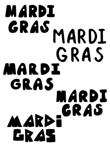 Happy Mardi Gras festival lettering stickers set stock vector illustration