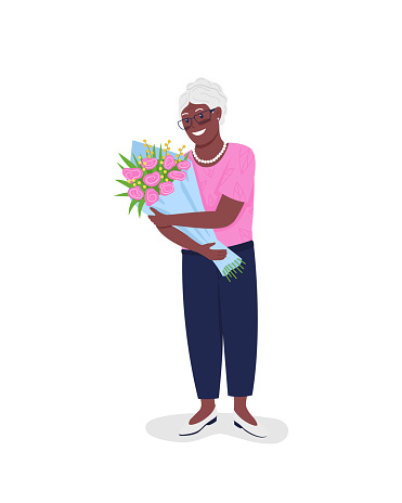 Happy mature african american woman with flowers flat color vector detailed character