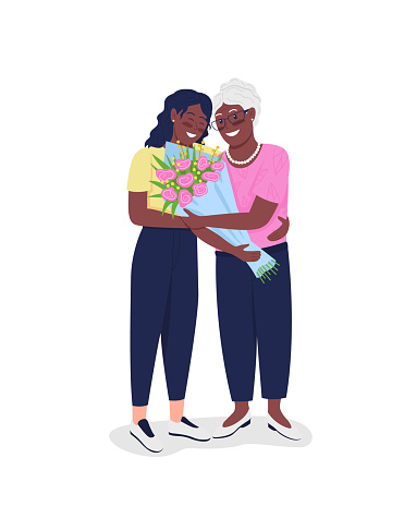 Happy mature mother with adult daughter flat color vector detailed characters