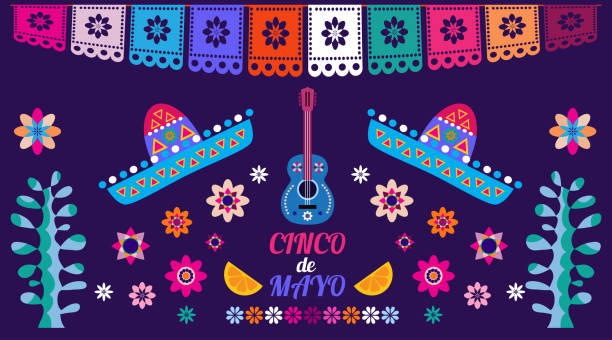 Happy May five Happy Cinco de Mayo. Festive Cinco De Mayo colorful template  poster design. Perfect  for your holiday celebration at a bar, restaurant, card, nightclub or other venue.Vector illustration. cinco de mayo stock illustrations