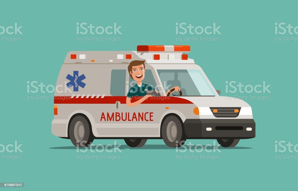 Feliz médico va en coche. Servicio de ambulancia, atención de emergencia, concepto de hospital. Ilustración de vector de medicina - ilustración de arte vectorial