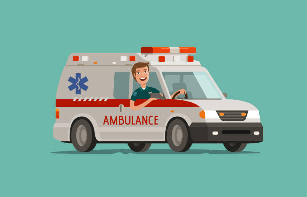 Happy medic goes on car. Ambulance service, emergency care, hospital concept. Medicine vector illustration vector art illustration