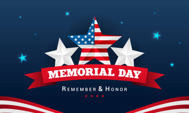 happy memorial background vector illustration. usa stars on dark blue background. - memorial day stock illustrations