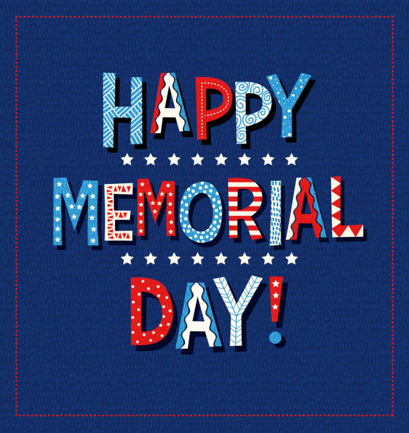 happy memorial day 2020 in red white and blue vector art illustration