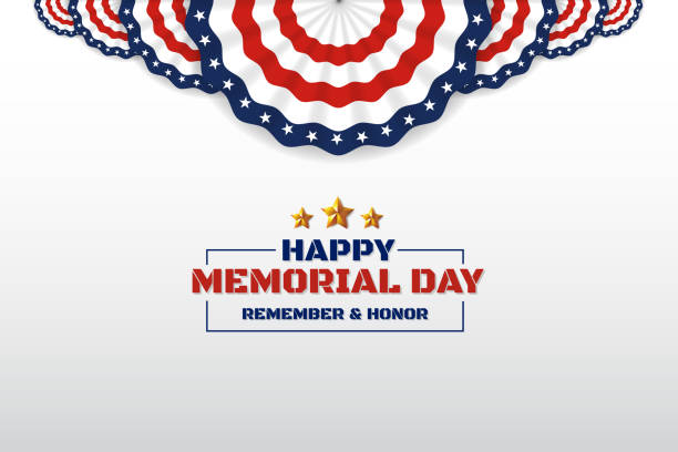 happy memorial day background design with usa circle flag - memorial day stock illustrations