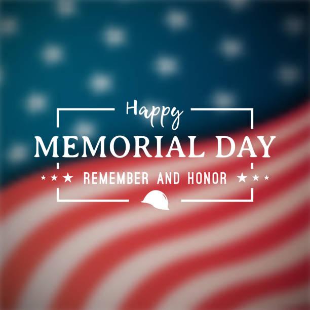 с днем памяти баннер. национальный американский праздник. размытый американский флаг. векторный фон. - memorial day stock illustrations