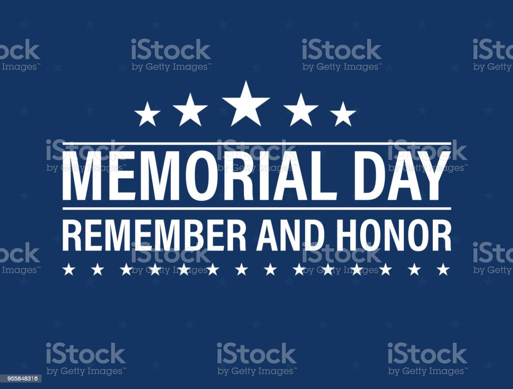 Happy Memorial Day card. National american holiday. Festive poster or banner with hand lettering. Vector illustration. vector art illustration