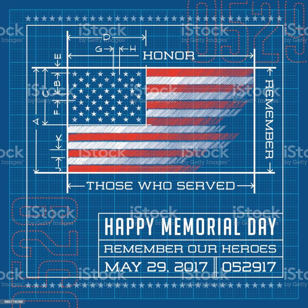 Happy Memorial Day card or banner. American flag drawing as a blueprint or diagram. Remember our heroes. vector illustration. royalty-free happy memorial day card or banner american flag drawing as a blueprint or diagram remember our heroes vector illustration stock vector art & more images of american flag